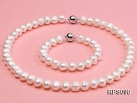 9-10mm white round freshwater pearl necklace and bracelet set