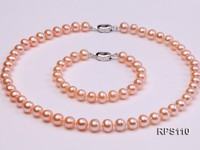 8mm AAA pink round freshwater pearl necklace and bracelet set