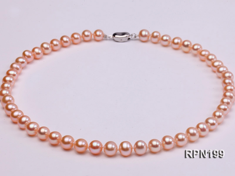 8mm AAA Natural Pink Round Freshwater Pearl Necklace