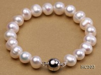 9-10mm white round freshwater pearl bracelet