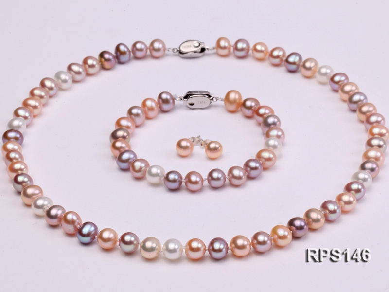 8mm AAA round freshwater pearl necklace,bracelet and earring set
