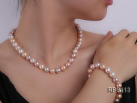 8mm AAA round freshwater pearl necklace and bracelet set
