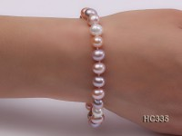 8mm AAA white pink lavender round freshwater pearl bracelet