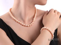 9-10mm round freshwater pearl necklace and bracelet set