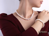 10-11mm white round freshwater pearl necklace and bracelet set