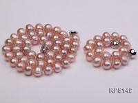 9-10mm pink round freshwater pearl necklace and bracelet set