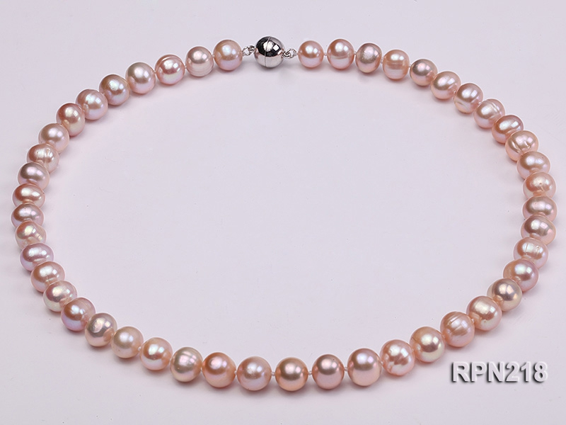 9-10mm Natural Lavender Round Freshwater Pearl Necklace