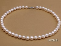 9-10mm AA-grade Classic White Round Freshwater Pearl Necklace