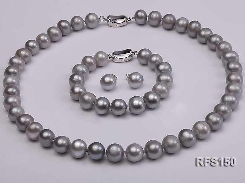 10-11mm round grey freshwater pearl necklace,bracelet and earring set