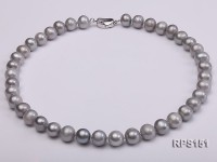 10-11mm grey round freshwater pearl necklace and earring set