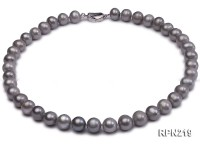 10-11mm Round Grey Freshwater Pearl Necklace
