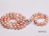 9mm AAA round white pink and lavender freshwater pearl necklace,bracelet and earring set