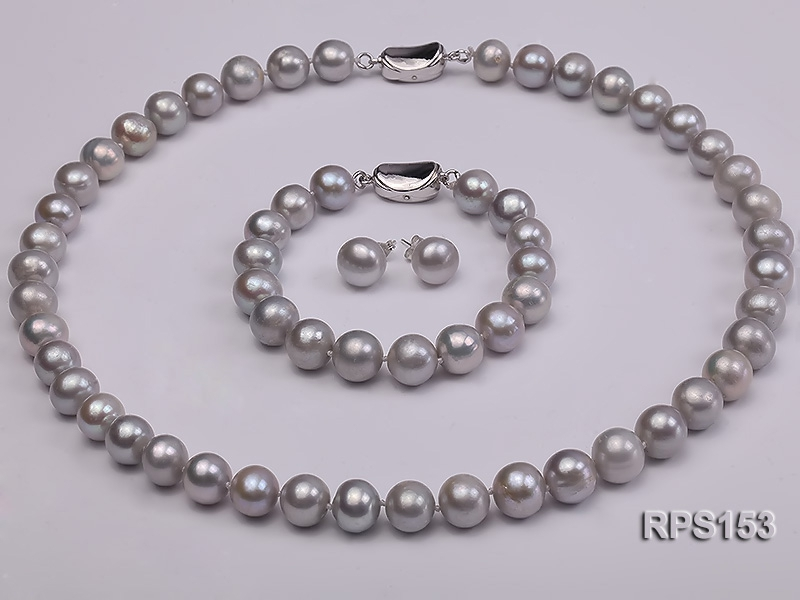 10-11mm grey round freshwater pearl necklace,bracelet and earring set
