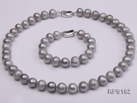 10-11mm grey round freshwater pearl necklace and bracelet set