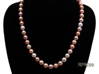 9mm AA-grade Round Multicolor Freshwater Pearl Necklace