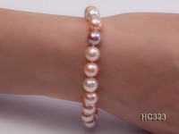 9mm AAA white pink lavender round freshwater pearl bracelet