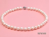 10-11mm Classic White Round Freshwater Pearl Necklace