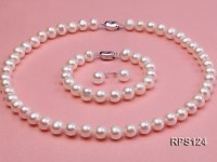 9mm round freshwater pearl necklace,bracelet and earring set