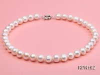 11-12mm Classic White Round Freshwater Pearl Necklace