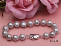 10-11mm grey round freshwater pearl bracelet