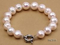 11-12mm white round freshwater pearl bracelet
