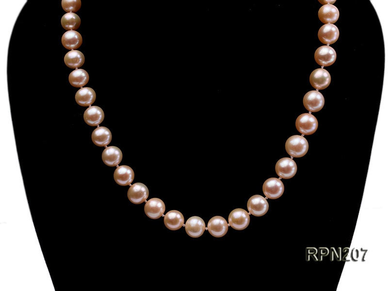 Classic 10mm AAA Pink Round Freshwater Pearl Necklace