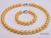 11-12mm AAA yellow round freshwater pearl necklace and bracelet set