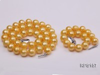 11-12mm yellow rounf freshwater cultured pearl necklace bracelet and earring set