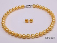 11-12mm yellow round freshwater pearl necklace and earring set