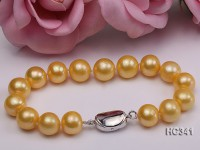 11-12mm yellow round freshwater pearl bracelet