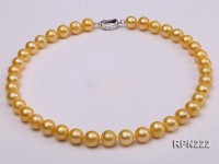 AA-grade 11-12mm Golden Round Freshwater Pearl Necklace