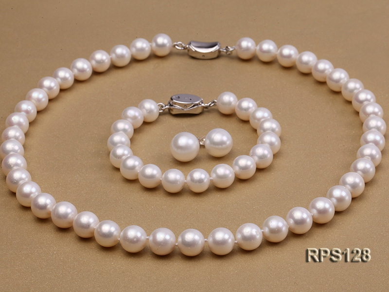 10mm AAA round freshwater pearl necklace,bracelet and earring set