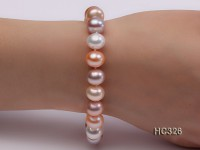 10mm AAA natural white pink and lavender round freshwater pearl bracelet