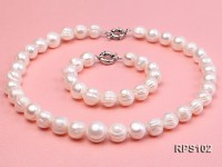 12-13mm round freshwater pearl necklace and bracelet set