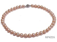 10-11mm Natural Pink Round Freshwater Pearl Necklace