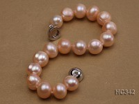 10-11mm pink round freshwater pearl bracelet