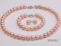 10-10.5mm AAA pink round freshwater pearl necklace,bracelet and earring set