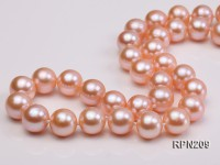 Classic 10-10.5mm AAA Pink Round Cultured Freshwater Pearl Necklace