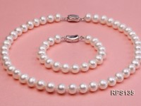 10-10.5mm AAA round freshwater pearl necklace and bracelet set