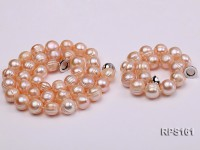 11-12mm pink round freshwater pearl necklace and bracelet set