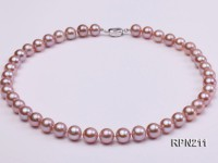 Classic 10-10.5mm AAA Lavender Round Cultured Freshwater Pearl Necklace