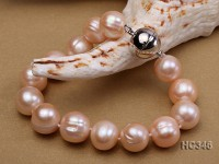 11-12mm pink round freshwater pearl bracelet