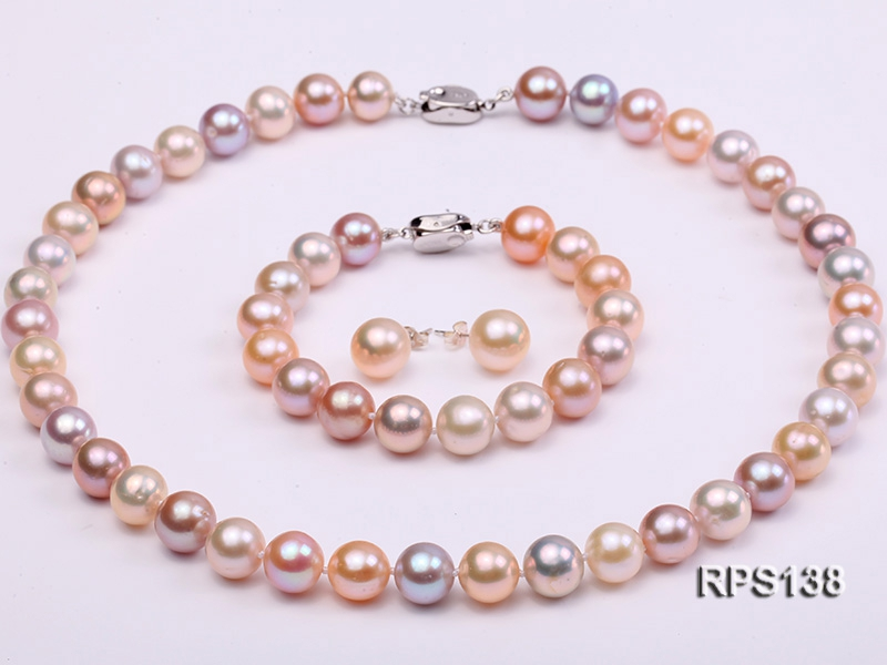 10-10.5mm AAA round freshwater pearl necklace,bracelet and earring set