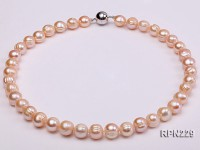 Super-size 11-12mm Natural Pink Round Freshwater Pearl Necklace