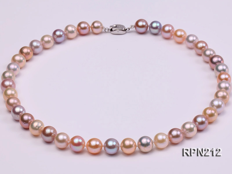 Classic 10-10.5mm AAA Multi-color Round Cultured Freshwater Pearl Necklace