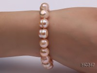 11-12mm pink round freshwater pearl bracelet