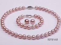 10-11mm AAA lavender round freshwater pearl necklace,bracelet and earring set