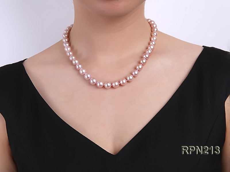 Classic 10mm AAA Lavender Round Freshwater Pearl Necklace