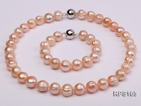 12-13mm pink round freshwater pearl necklace and bracelet set