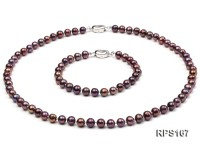 6mm black round freshwater pearl necklaceand bracelet set